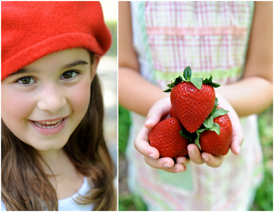 Girl holds a bright pile of strawberries for a miami child photography photo shoot.