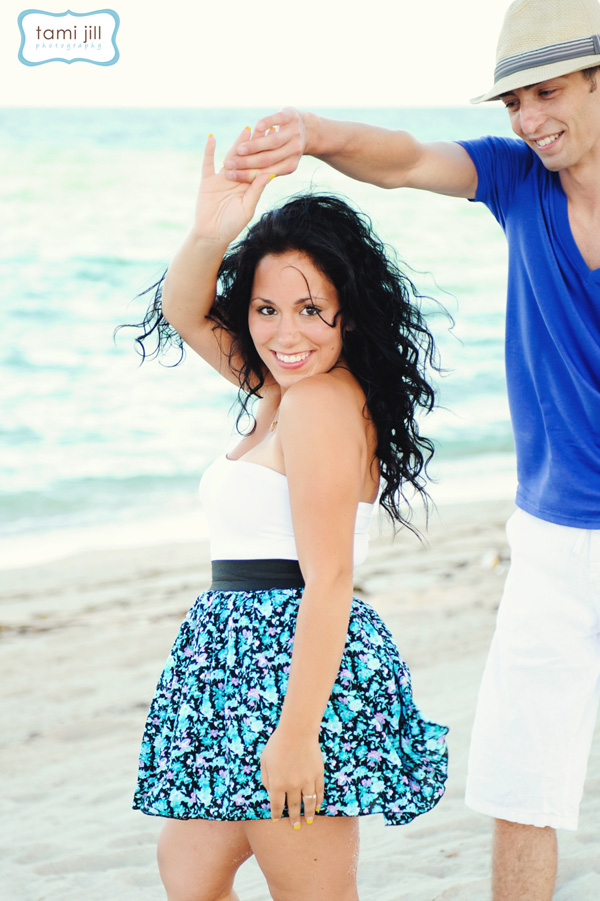 The cute couple danced in their Engagement Session on Miami Beach.