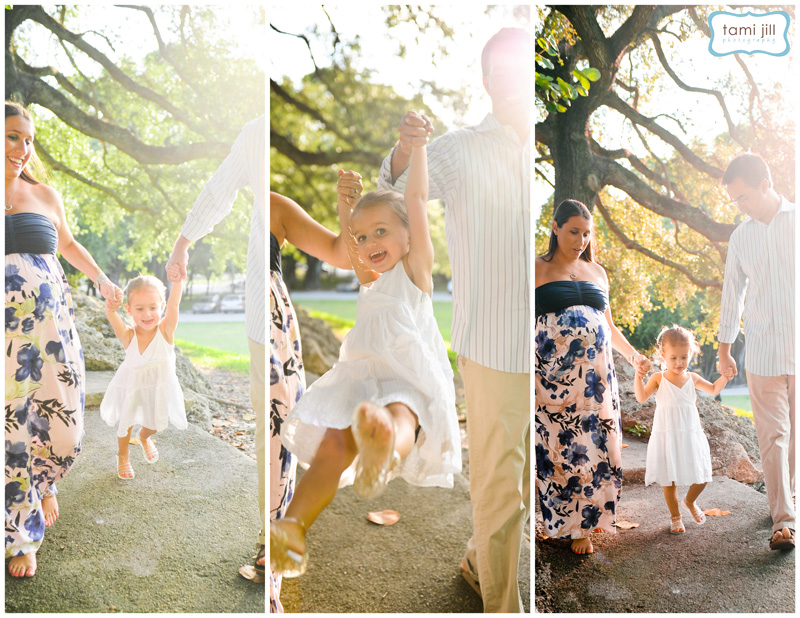 Mom and dad swing their little girl during a Miami Maternity Session.