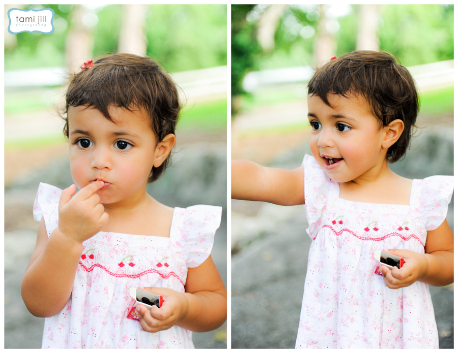 Little girl eats raisins during her Child Photography session in Miami.