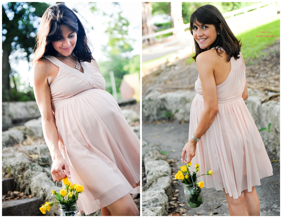 Woman holds flowers for her Maternity Photography session in Miami.