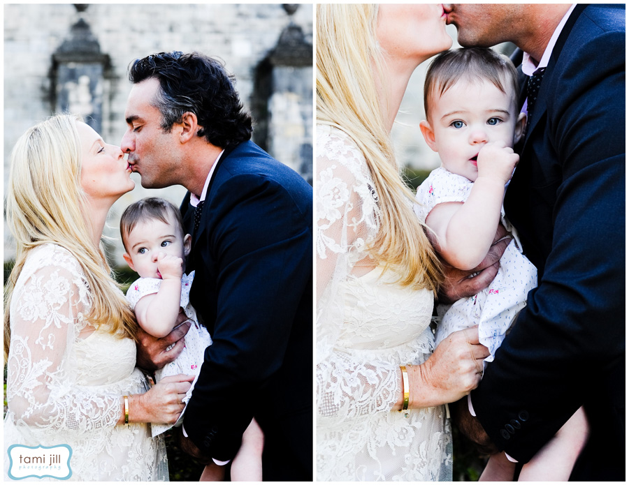 Family poses during a photo shoot at the Spanish Monastery in Miami.