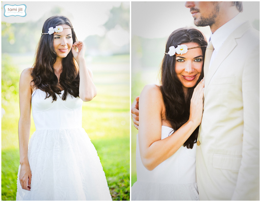 Boho chic bride standing in the sunlight at a South Florida wedding session.