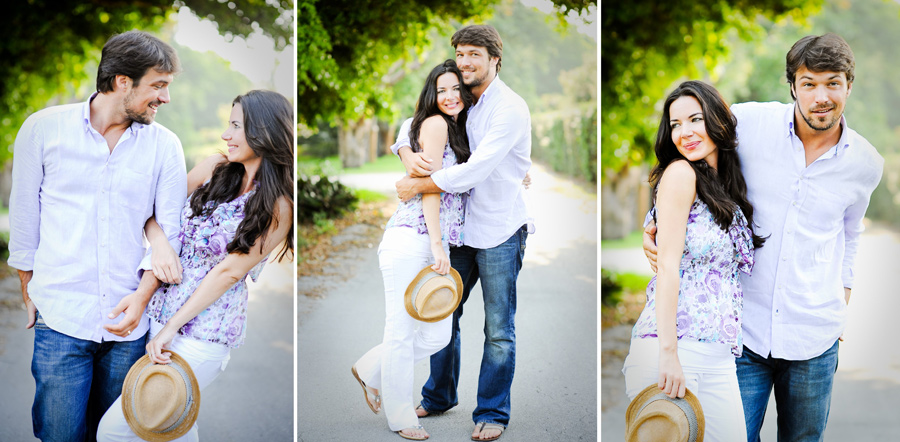 Cute preppy couple pose for a South Florida engagement photo shoot.