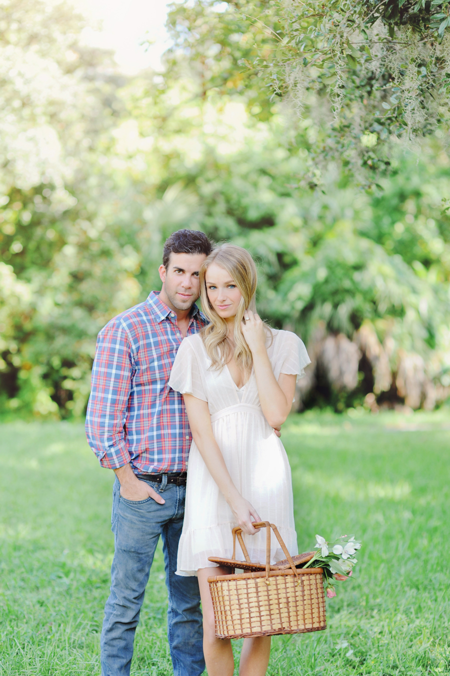 Engaged couple in woods for Miami Engagement Photographer.