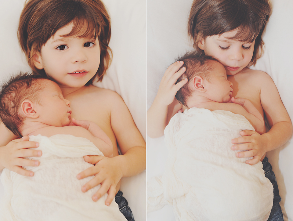 Siblings pose for Miami Newborn Photographer.