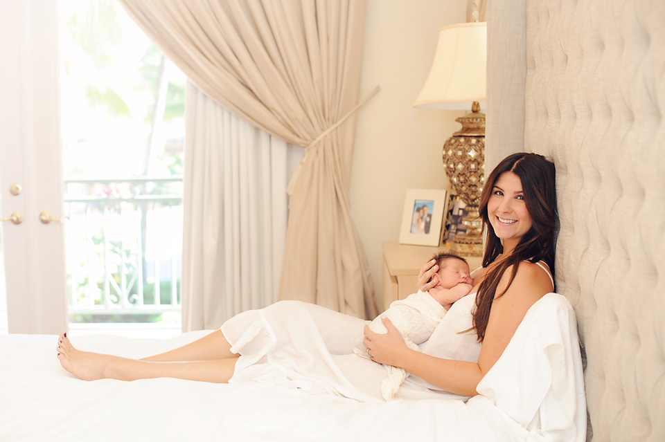 Mother and newborn baby pose for hollywood, FL newborn photographer