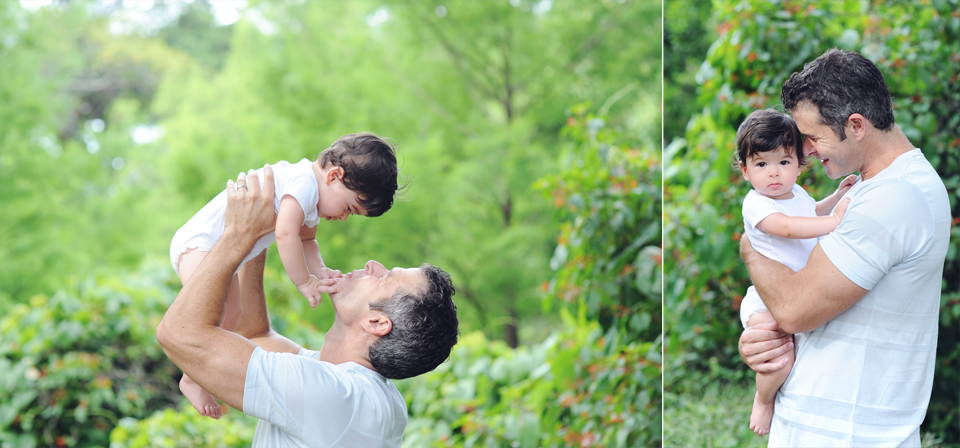 Daddy and son poses for Miami Beach Photographer.