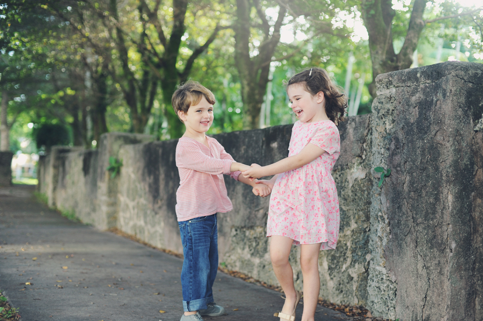 Brother and sister play during a Miami Photography session.
