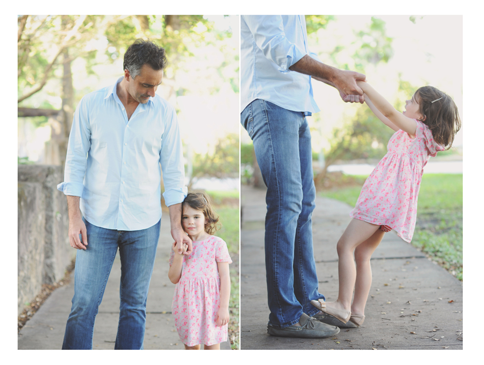 Daddy and daughter playing during Miami Family Photography session.