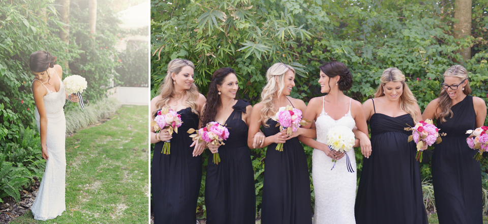 Bridesmaids in South Beach wedding