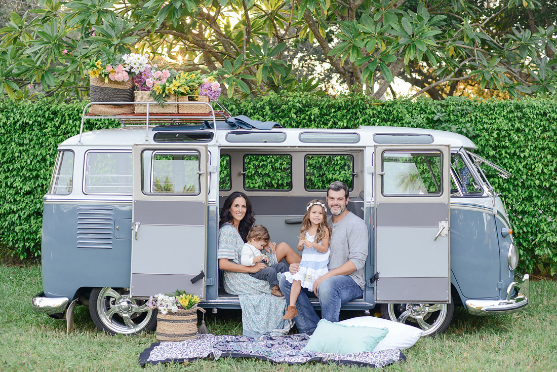 Family Portraits with Vintage VW Bus