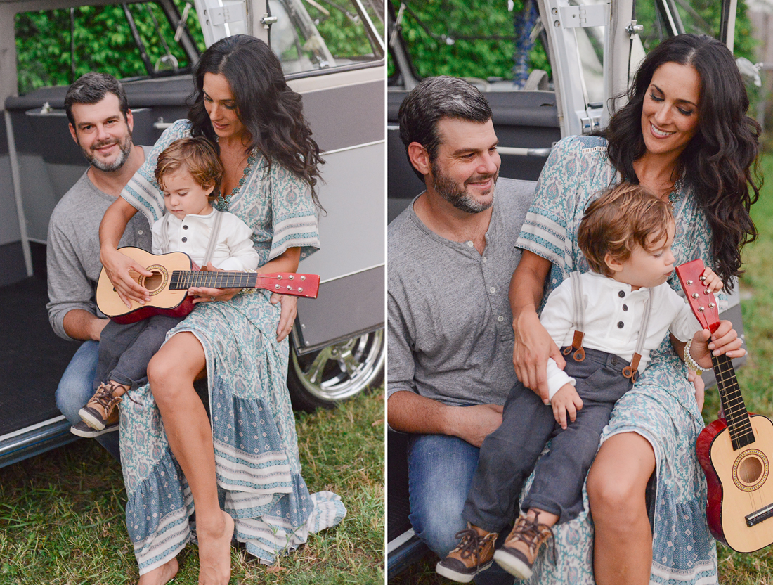 Family plays guitar in Vintage VW Bus.