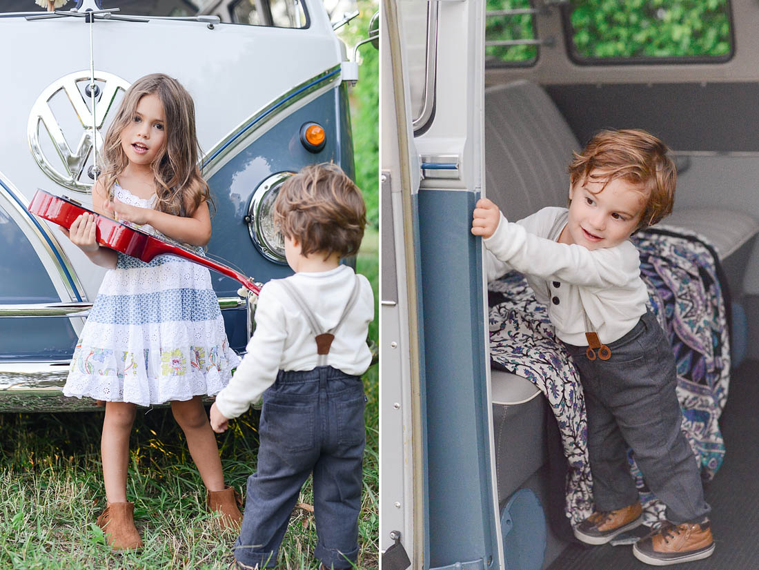 Sister and Brother play in vintage VW Bus.