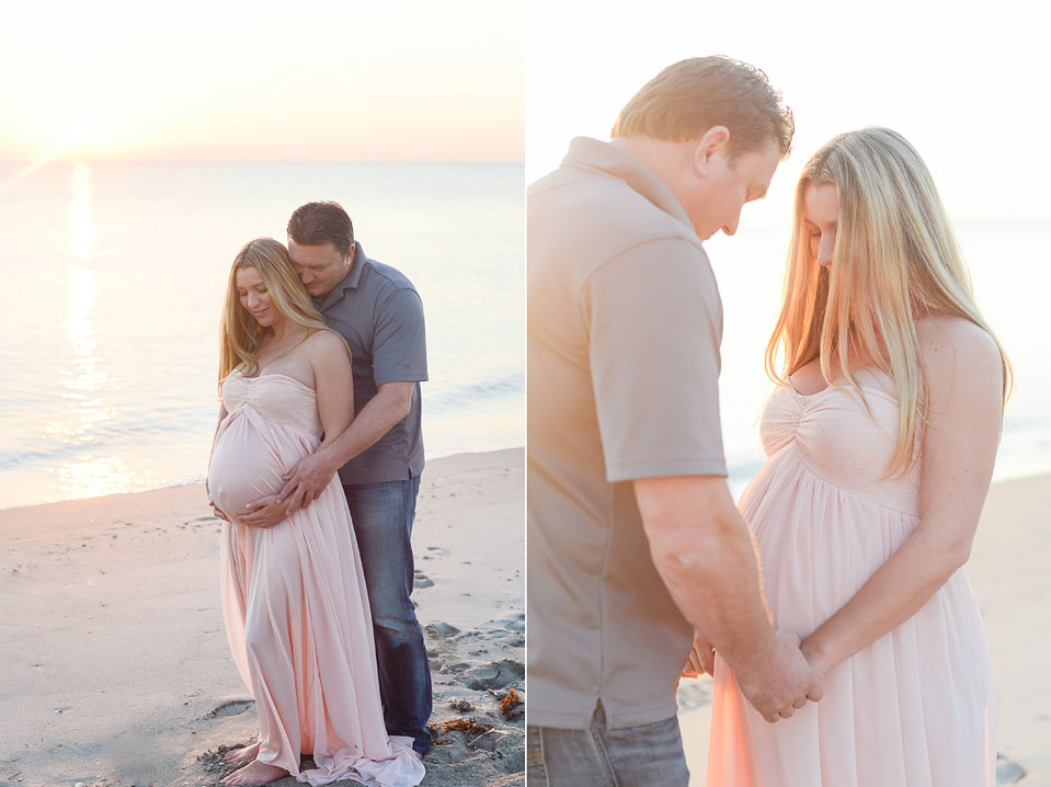 Maternity photography session in the water on Miami beach.